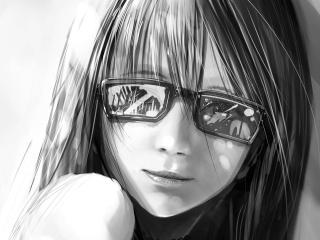 girl, view, black and white, glasses, shoulder, smile