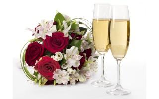 букет, квітка, троянди, квіти, шампанське, келихи