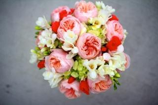 цветы, фрезии, букет, Пионы, Композиция, гортензия