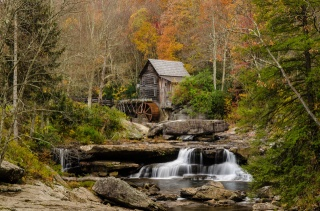 autumn, threads, water mill, forest, river, nature