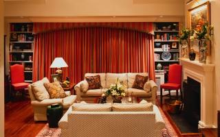 штори, камін, картина, кімната, дивани, столик, меблі