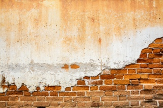 old, wall, bricks, plaster