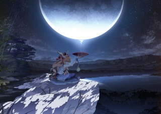 touhou, art, bowl, girl, night, the moon, ibuki suika, asakura masatoki