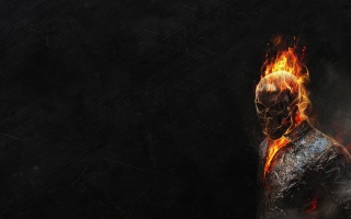 Ghost rider, skeleton, fire, Red, ghost rider