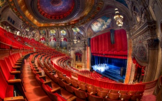 red, light, chairs, scene, theatre, Chicago, beauty