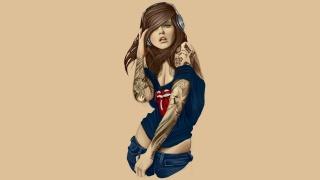 drawing, girl, tattoo, headphones, the shore, Magicka, beautiful