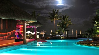 the hotel, night, the sky, the moon, clouds, pool, the house, lighting, lights, beauty