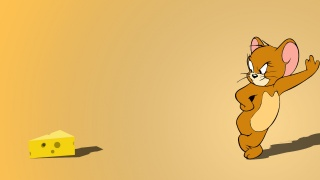 Jerry, minimalism, The, orange, mouse, cheese, yellow, and