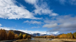 valley, channel, trees, mountains, clouds, autumn