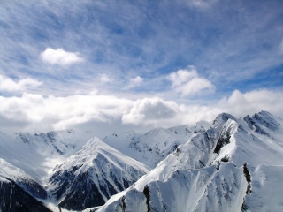 облака, пик, горы, снег