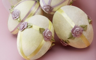 pink background, tape, Easter, flowers, EGGS, decorative