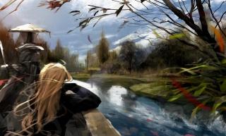 арт, річка, дівчина, блондинка, довговолоса, малюнок
