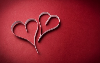 hearts, heart, red background, strips, paper