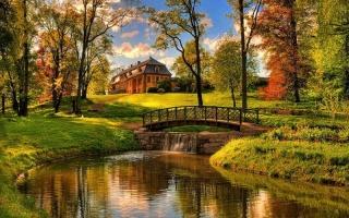 осень, мостик, речка