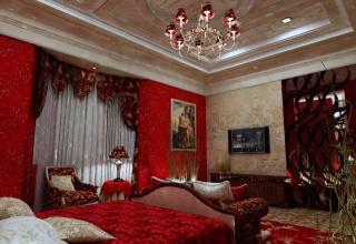 люстра, кровать, спальня, Интерьер, картина, телевизор