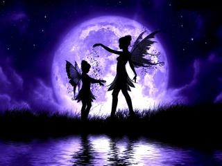 Víla, víly, prach, měsíc, noc, voda, křídla