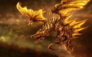 dragon, oheň, křídla, letí
