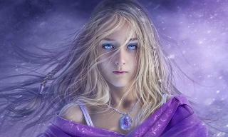 holka, blond, vlasy, sliny, přívěsek, vzory, oči