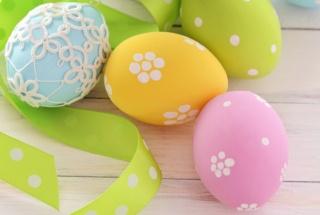 Modré, VEJCE, velikonoce, Velikonoce, růžové, žluté, páska