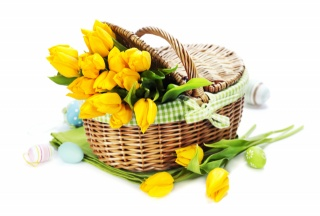 svátek, kytice, koše, VEJCE, velikonoční, tulipány