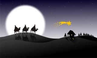 svátek, karavan, hvězdy, měsíc, Vánoce, vánoční