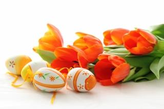 Velikonoce, tulipány, velikonoce, červené, květiny, jaro, VEJCE