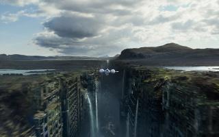 забвение, обливион, корабль, полёт, руины, город, ущелье, водопады