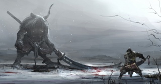 арт, зима, зброя, РОГУ, кров, монстр, Воїн, битва, сніг