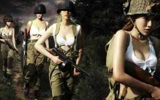 автоматы, Война ФГ, девушки, оружие, война, в походе