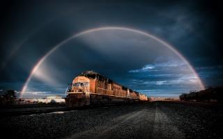 поезд, радуга, железная дорога