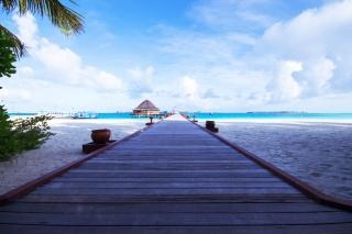 pláž, cesta, bungalovy, nebe, mraky, oceán, loď
