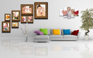 стене, на, полиптих, растение, горшке, картины, комната