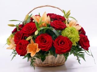 цветок, цветы, красные, розы, лилии, природа, букет