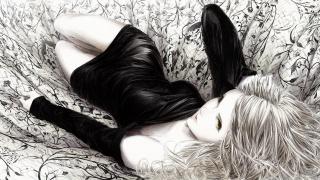 тканина, монохромне, дівчина, sawasawa, малюнок, лежачи, арт