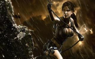 Лара Крофт, дощ, груди, скеля