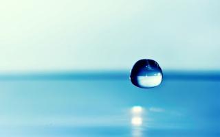 капля, вода, фон, фокус, голубая