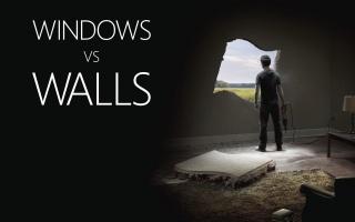 Windows against walls, window