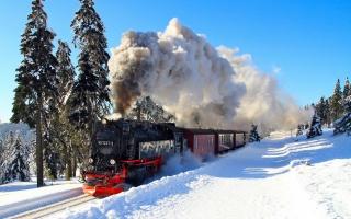 зима, железная дорога, паровоз