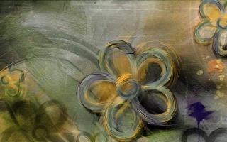 цветы, желто, зеленые, нарисованные