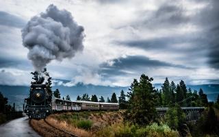 поезд, дым, Канада, Британская Колумбия, паровоз, природа