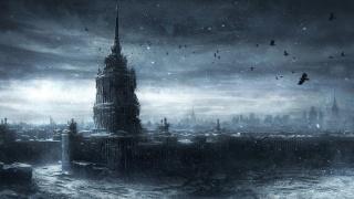 руины, Москва, здания, арт, снег, руины, Москва, город