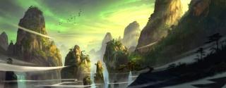 горы, деревья, преследовать, птицы, фэн лю, арт, хвойные, скалы