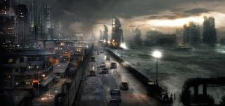 машины, апокалипсис, буря, ночь, город, дорога