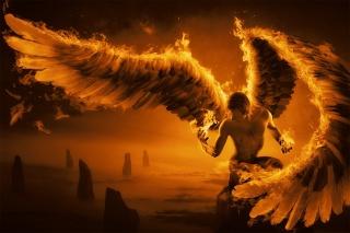 огонь, парень, крылья, перья, скалы, арт