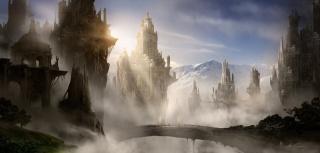 туман, арт, горы, скалы, башни, замок, мост, город