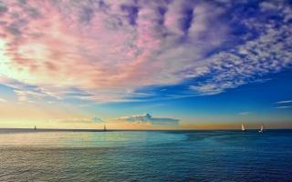 море, яхти, небо, хмари