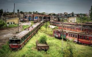 заброшенное, железнодорожное депо, электрички
