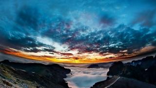 hory, MRAKY.VRCHOLY, nebe, západ slunce, svítání, nízký