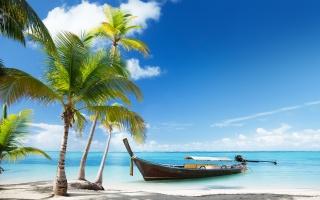 moře, v tropech, longboat, palmové, mraky, loď, písek