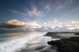 moře, pobřeží, mraky, písek, večer